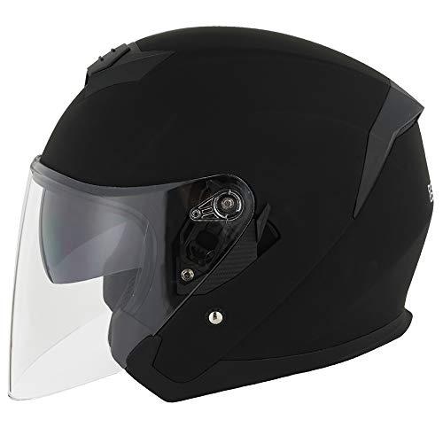1STORM MOTORCYCLE OPEN FACE HELMET SCOOTER CLASSICAL KNIGHT BIKE DUAL LENS/SUN VISOR MATT BLACK