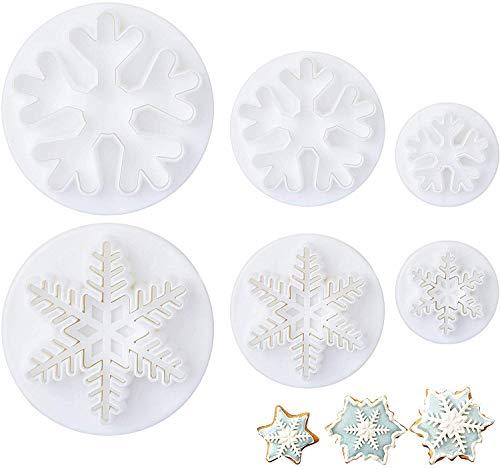 LIHAO 6tlg Fondant Ausstecher Schneeflocken Ausstechformen Auswerfer Stempel Tortendeko Set für Kuchen Torte Kekse Schokolade Gelee, Weiß (MEHRWEG)