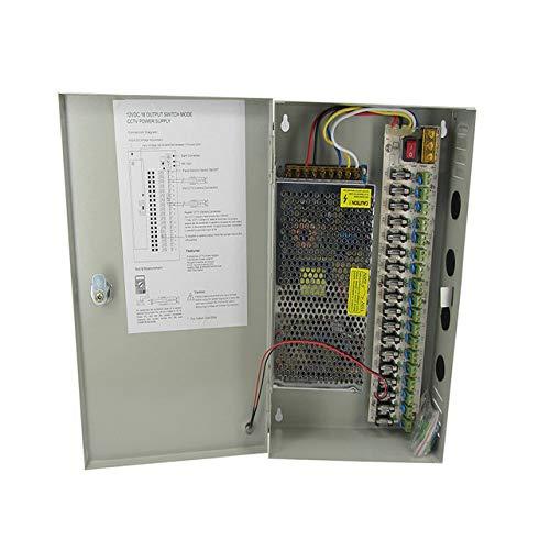 RPS Fuente de alimentación con Caja Metalica y Llaves incluida para CCTV y cámaras de videovigilancia 33,2x22,6x6,6 cm DC 12V 15A 180W 18CH