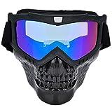 Alomejor Casco de la Motocicleta Gafas Máscara Facial de la Motocicleta con Gafas Protección UV Montar Gafas para Deportes al Aire Libre(Colorful)