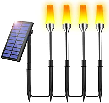 4-Pack Solar Powered Auto On/Off Dusk to Dawn Pathway Lights