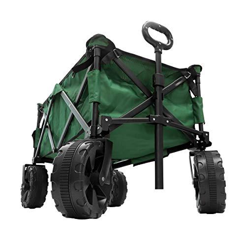 MERMONT キャリーワゴン (グリーン) 自立収納 折りたたみ式 コンパクト 耐荷重90kg 大型タイヤ アウトドア BBQ 運動会 キャリーカート