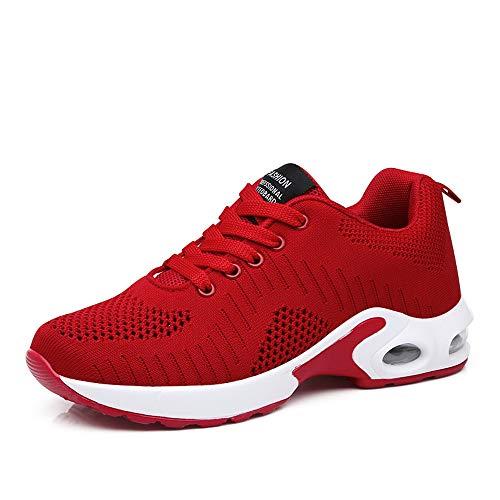 PAMRAY Laufschuhe Damen Air Gymnastik Strasenlauf Schuhe Schnuren Freizeitschuhe Rot Rosa Schwarz Violett Weis 35-42 (Rot, Numeric_38)