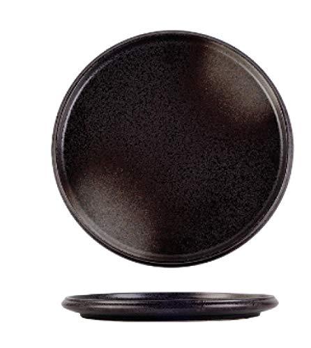 Plato redondo de borde grueso de 12 pulgadas plato de cerámica plato plano redondo plato occidental plato de carne restaurante plato especial-12 pulgadas de puntos negros de joya_1 articulo