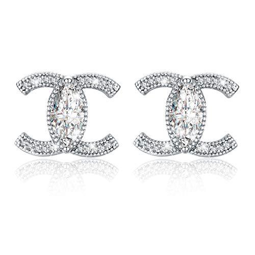 LEVIOLET Damen CC Ohrringe Silber 925 Ohrstecker Große mit Glitzer 5A Zirkonia für Frauen