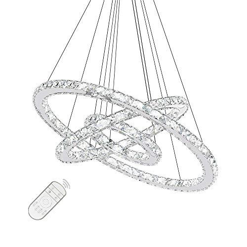 72W LED Kristall Design Hängelampe Deckenlampe Pendelleuchte Kreative Kronleuchter Drei Ringe Dimmbar Lüster (72W Dimmbar)