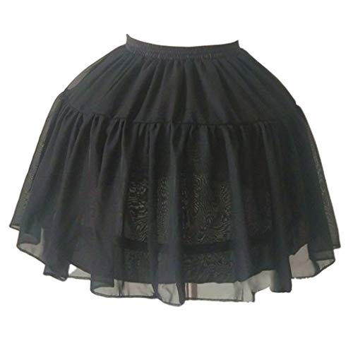 JERKKY Petticoats 1 stuk vrouwen meisjes Lolita Cosplay crinoline petticoat 2 Hoops tule lagen drijven instelbare tube rok trouwjurk Short Half Slip Black
