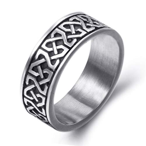 Elfasio 8mm Men Celtic Knot Stainless Steel Ring Band Vintage Jewelry US Size 7
