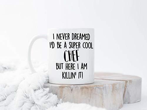 Tazas de café de chef, divertida taza de chef, taza de café de chef, regalo de chef, tazas de chef, regalos divertidos para chef, taza de cocinero, taza de cocinero, taza de cocina, hogar, oficina, mujeres, hombres, taza de té, regalo divertido para personalizar, 11 onzas, color blanco