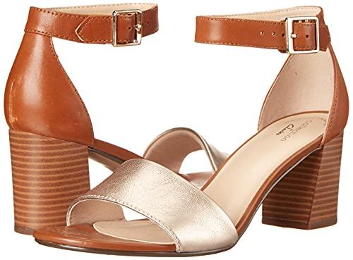 Clarks Women's Jocelynne Cam Heeled Sandal, Metallic/Tan Leather Combi, 10