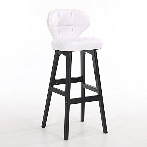 LightSeiEU/Tabouret haut simple moderne, chaise de barre arrière, tabouret de bar de caissier à la maison, tabouret haut de réception, chaises de barre en bois plein (Couleur : Blanc)