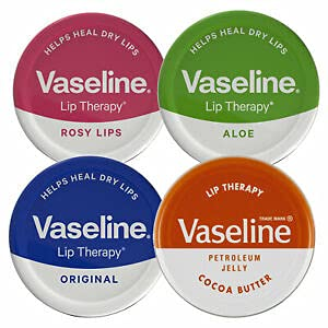 Vaseline Lip Balm Petroleum Jelly 20g Lip Therapy. Cocoa Butter, Aloe, Rosy Lips and Original Flavour. Soothes Dry Lips (Pack of 4)