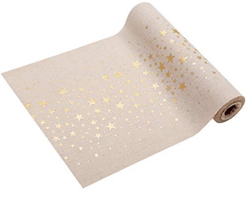 Chemin de table orné d'étoiles métallisées 28 cm x 5 m Aspect naturel Nappe de décoration de Noël et de l'Avent, or, 5 m