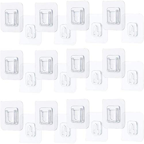 GTHT Double-Sided Adhesive Wall Hook 12 Pieces, Multi-Purpose Hooks Home Organization and Storage Shelf Strong Viscose Wall Hook No Punching
