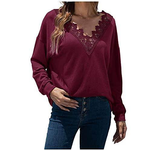 UEsent Camiseta de manga larga para mujer, cuello en V, de un solo color, sexy, con hombros descubiertos, para otoño e invierno, color negro y caqui, Vino, XL