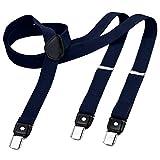 DonDon Bretelles homme étroites 2,5 cm – 3 clips modèle Y – élastique et réglable bleu