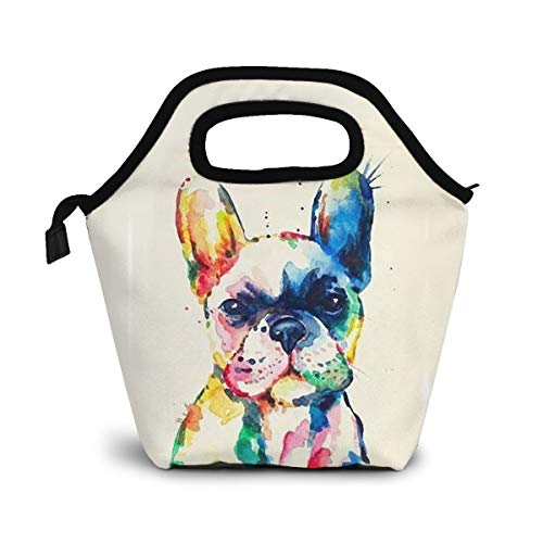 MSGUIDE Watercolor French Bulldog Insulated Lunch Bag Tote for Women Reusable Leakproof Thermal Cooler Lunch Box Container for School Travel Work Picnic