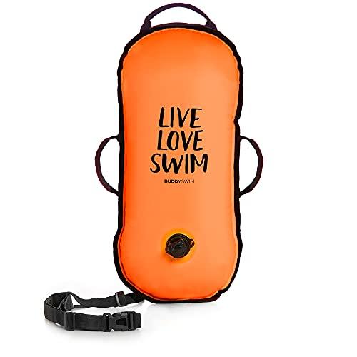 BUDDYSWIM Boya de Seguridad para Natación en Aguas Abiertas Sin Compartimento Interior Estanco Muy Ligera, Ideal para Travesías y Competiciones - Ultralight LLS Color Naranja