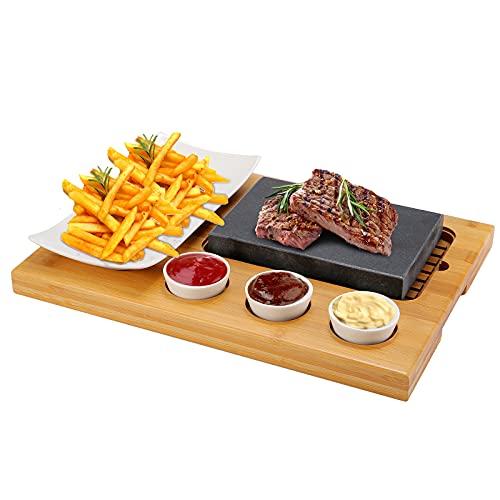 Ensemble de Steak à la Pierre Chaude, TOPQSC Grill à Pierre Chaude, Bols à Sauce en Porcelaine avec Pierre de Lave, Steak Grillé Sans Gras, Viande, Poisson sur Pierre Chaude
