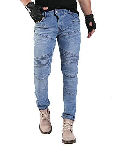 GELing Pantaloni Moto Uomo Jeans Aramid Con l'armatura,Blu,M