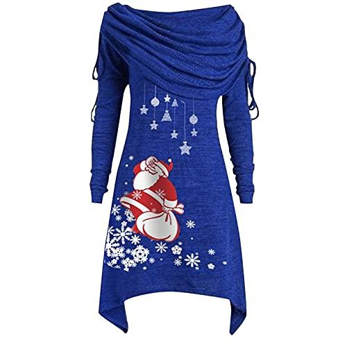 Zldhxyf Blusa de manga larga para mujer, estilo vintage, para fiestas, otoño o Navidad, azul, S