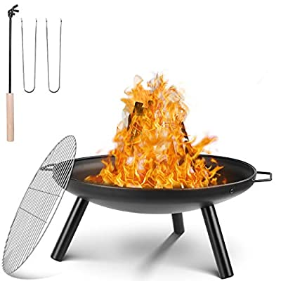 Femor Fire Bowl Diameter 59 cm, Fire Pit with Grill Grate and Handles, Multifunctional Fire Pit for Heating/BBQ, Garden Fire Basket and Grill, for Camping Picnic Garden, 68 x 59 x 28.5 cm by femor