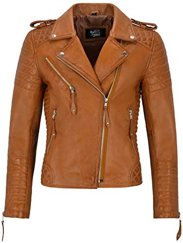 Smart Range Leather Co. Ltd. Giacca in Pelle da Donna Classico Stile da Motociclista 100% Vera Pelle Napa 2260 (8 for Bust 74cm, Tan)