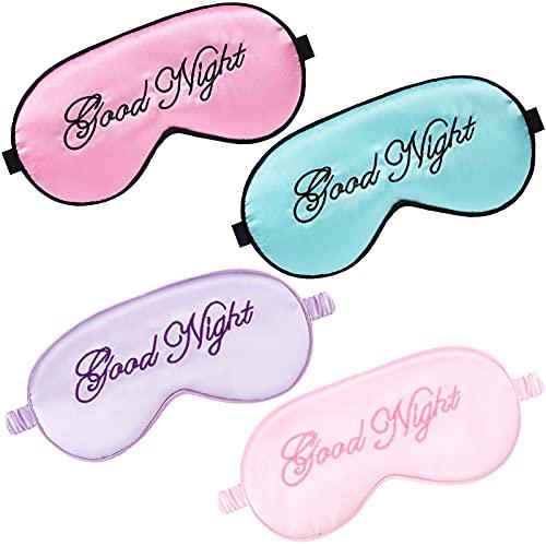 4 Stücke Seide Schlafmasken Augenmaske Weich Augenbinde Augenmaske Schlafen Augenblinder Verstellbar Gurt Satin Augen Schlafmaske für Damen und Männer (Rosa, Lila, Hellrosa, Hellblau)