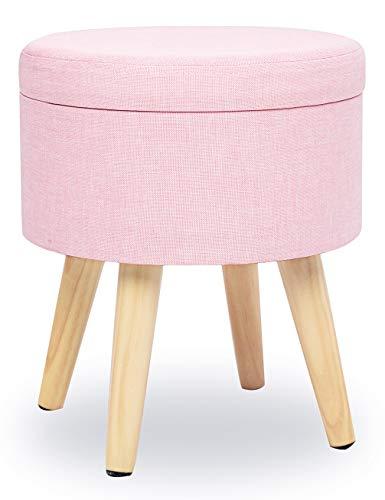 N A Taburete Redondo Puff Caja de Almacenamiento Asiento Extraíble Asiento de Lino con Tapa Patas Madera Maciza para Dormitorio Salón Pasillo (Rosa)