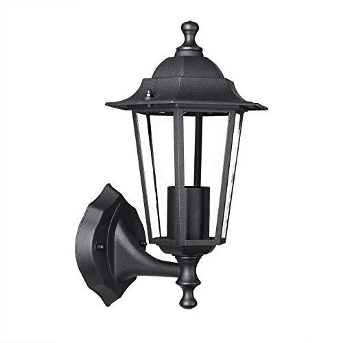monzana Farol de jardín Krysante Color Antracita 60W Lámpara rústica de Pared 375x200x225mm Resistente Patio terraza