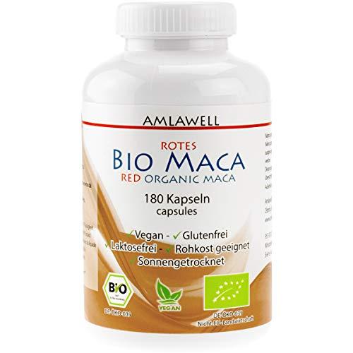 Amlawell rote Bio Maca Kapseln - Vegan - Rohstoff aus Peru - ohne Laktose und Gluten - aus deutscher Herstellung - 180 Kapseln - DE-ÖKO-039