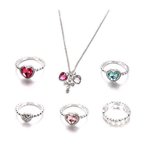 WOWOWO Jewerly Set 6Pc Bohemin Retro Colorful Heart Crystal Ring Cruz Colgante Collar Jewerly Set