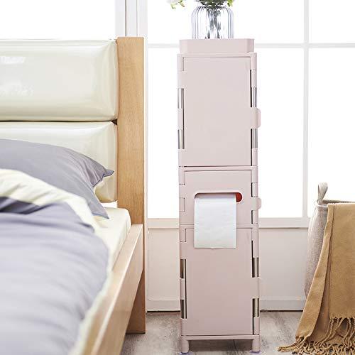 YLLHK Toilettenschrank Hochschrank Bad Badregal Freistehend Schließfächer, Mit Türen 79 x 20 x 20cm(Pink, Blau),Pink