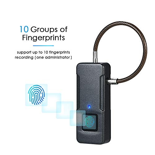Galapara 4'' Smart Fingerprint Security Padlock, USB Rechargeable Keyless Biometric Lock, 10 Sets Fingerprints IP65 Waterproof Anti-Theft Security Padlock Door Luggage Case Garage Cabinet Lock - Black