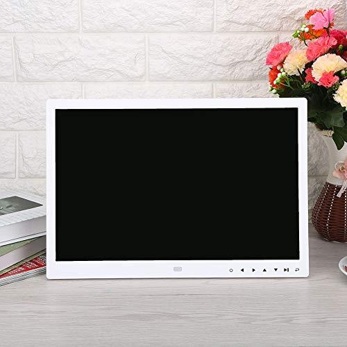 Marco digital de fotos digital de 15 pulgadas, 1280 x 800 HD, pantalla táctil, marco de fotos digital con mando a distancia, fotografía/música/vídeo/calendario/despertador (blanco)
