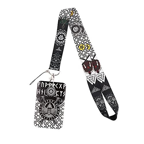 Key Lanyard for Men Cool North Viking Patterned Rigid Card Holder for ID Badge, Celtic Knot Silky Strap Neck Lanyard for Car Keys