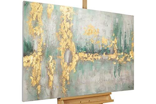 KunstLoft® Acryl Gemälde 'Riverside Stroll' 120x80cm | original handgemalte Leinwand Bilder XXL | Nonfigurative Kunst Grün Gold | Wandbild Acrylbild Moderne Kunst einteilig mit Rahmen