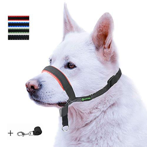 ILEPARK Gepolsterter Hundehalfter aus Leder - Hundehalsband-Halfter der Ziehen verhindert, Einstellbar, Maulkorb Hunde (L, Rot)