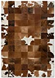 New Cowhide Rug Leather. Animal Skin Patchwork Area Carpet- Art 500C (4 x 6 ft)