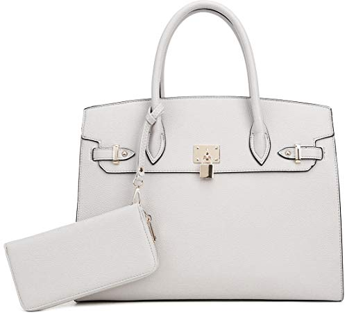 DELUXITY Women's Designer Top Handle Satchel Handbag Tote Bag Briefcase 2pc set | Off-White