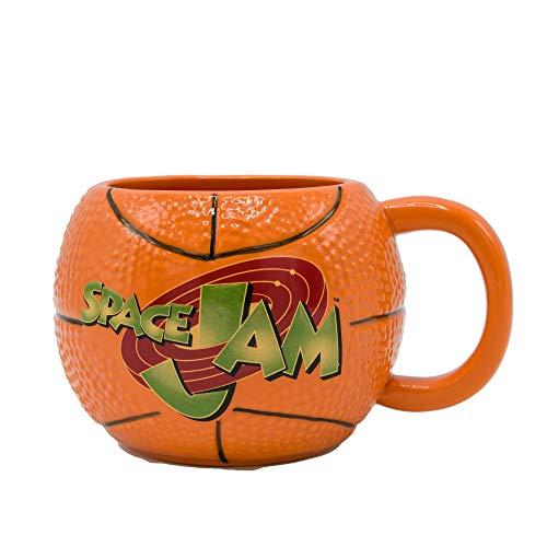 Silver Buffalo Space Jam Basketball with Logo Ceramic 3D Sculpted Mug, 20-Ounce, Orange