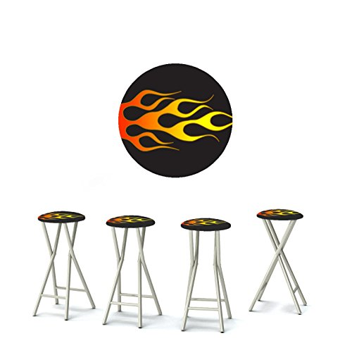 """Best of Times 13169W1433 Racing Flames 30"""" Padded Bar Stools-Set of (4), Black red White"""