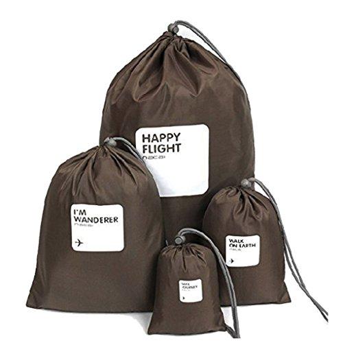 Impermeabile Viaggio Vestiti bagagli Borse organizer con cordoncino Scarpe biancheria laundry/lingerie/trucco Pouch Bag Underwear Stuff Bag Packing Organizzatori in borsa Organizer, Coffee (marrone) - Laundry Bag
