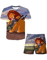 EA-SDN Lejonkungen set shorts och t-tröja barn, pojkar sommar t-shirt set och kort set 3D anime polyester sport t-shirt set
