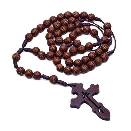 EAPTS Terço católico feito à mão unissex com contas redondas de madeira religiosa com contas de terço longo e corrente para homens e mulheres