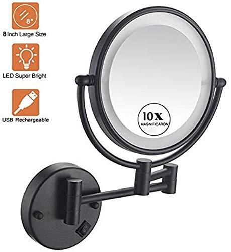 Relación calidad-precio Soporte de pared Espejo de maquillaje LED encendió un aumento de 10x, Cuarto de baño Espejo de baño, de 13 pulgadas de extensión, 360deg;Giratoria Dos caras Espejo de baño for