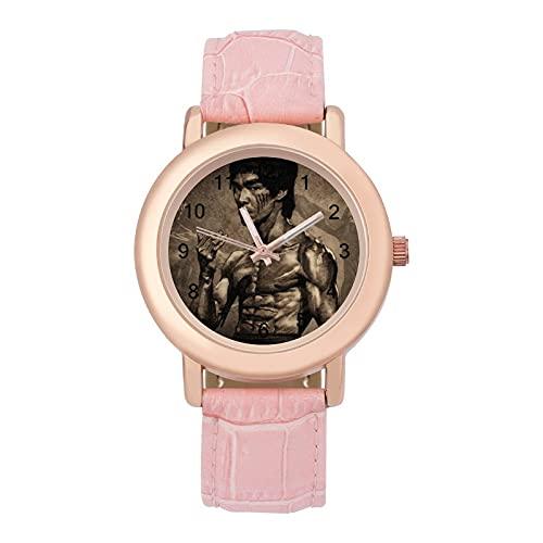 Bruce LeeLadies reloj de cuarzo de cuero con correa 2266 espejo de cristal redondo rosa accesorios casuales moda temperamento 1.5 pulgadas