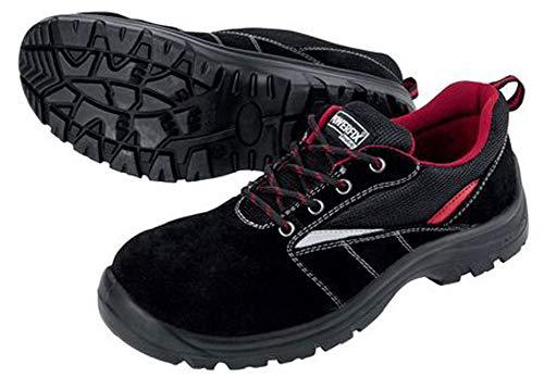Sicherheitshalbschuhe Sicherheitsschuhe Arbeitsschuhe S1 Unisex Echtleder Optimaler Schutz durch Zehenkappe aus Stahl (41, Schwarz Rot Leder)