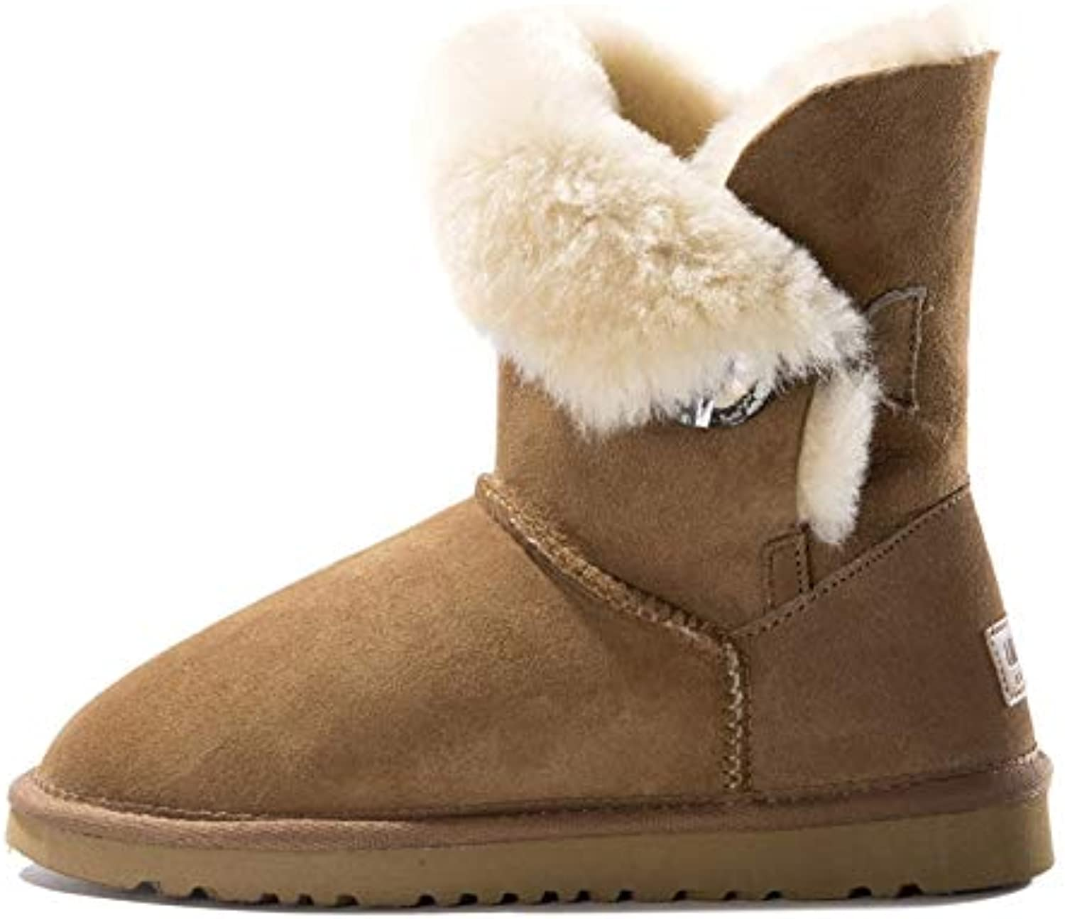Fumak Women Cow Suede Mid-Calf Boots Soft Genuine Leather Warm Wool Fur Snow Boots Women for Ladies Autumn Winter shoes Woman