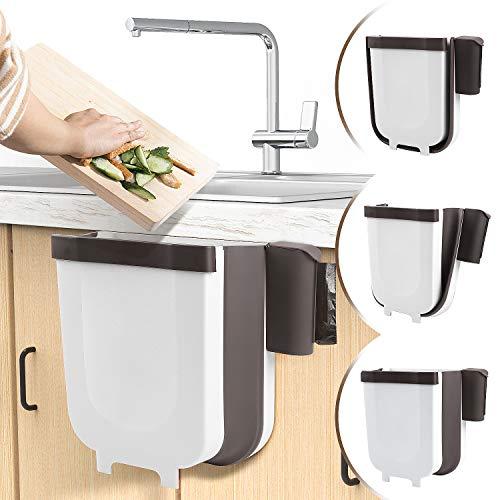 DUTISON Faltbarer Mülleimer, Aktualisiert Mülleimer Hängender mit Müllsackhalter für Küche Kabinett Tür, Mülleimer für Küche Schlafzimmer Auto Camping - 9L